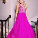 A Line Tank Straps Purple Prom Dresses V Neckline Beading Evening Dresses