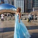 Halter Blue Prom Dresses Deep V Neckiline Evening Dresses