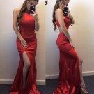 Red Halter Jersey Slit Cutout Back Prom Dresses Red Evening Dresses