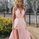 A Line Lace Cutout Top Prom Dresses Pink Slit Evening Dresses