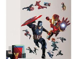 Avengers Captain America Iron Man Wall Decal Art Civil War+ Thor Hammer Keychain