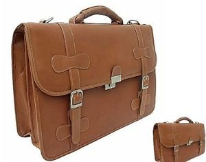 Leather XXL Flap-Over Laptop Bag Carrier Briefcase Holder New
