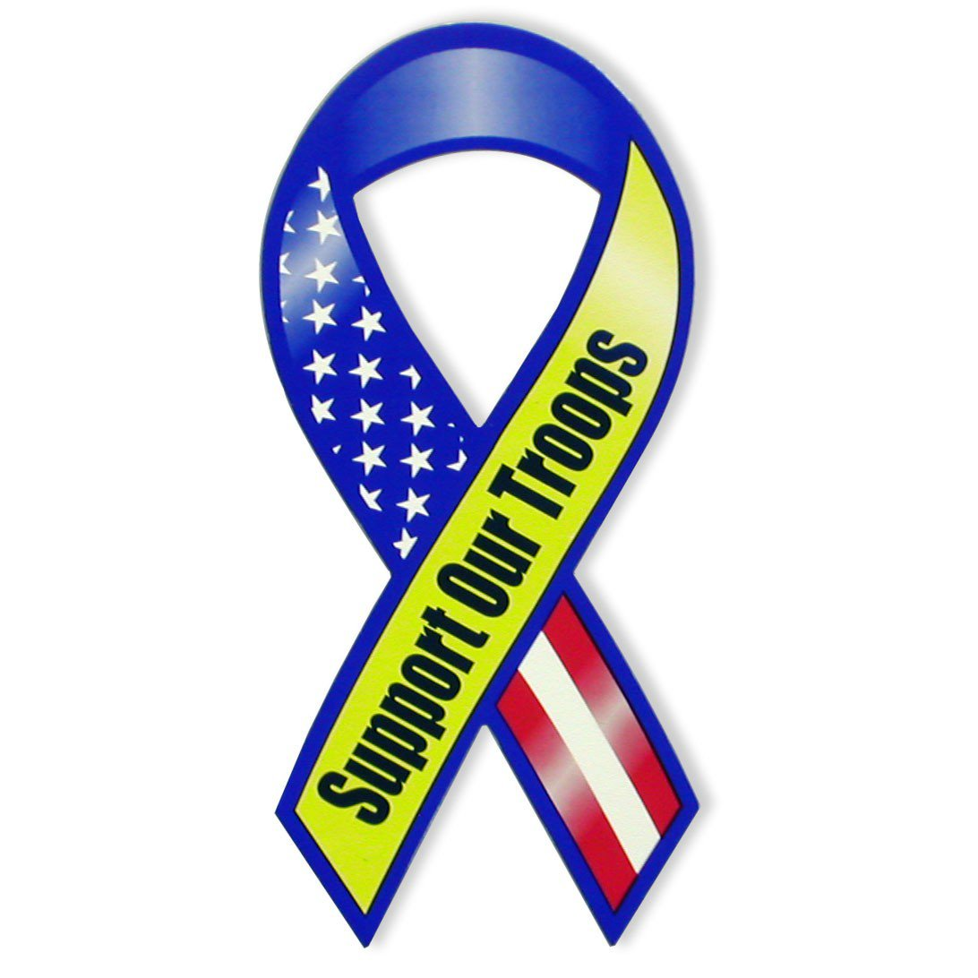 Veteran Blue & Yellow Support Our Troops Ribbon Magnet Military Army Navy
