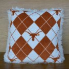 NEW Handmade NCAA TEXAS LONGHORN Hook Em Argyle FLEECE and FUR Throw PILLOW