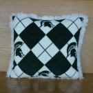 NEW Handmade MICHIGAN STATE SPARTAN NCAA Argyle FLEECE and FUR Throw PILLOW