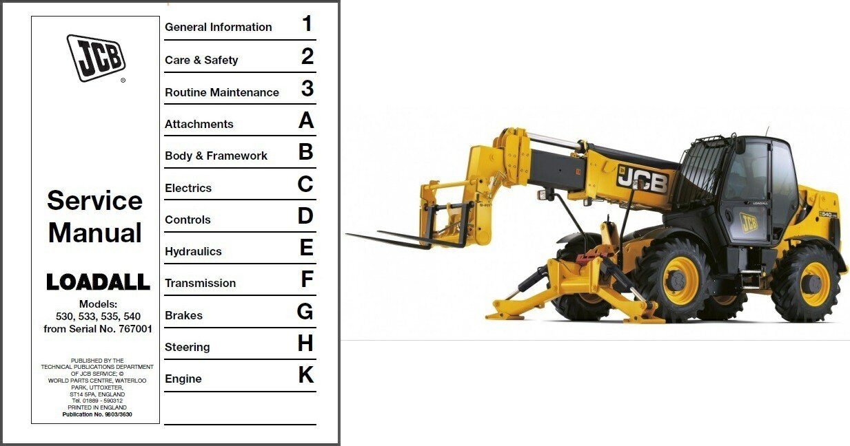 Shop manual for Jcb 530 on