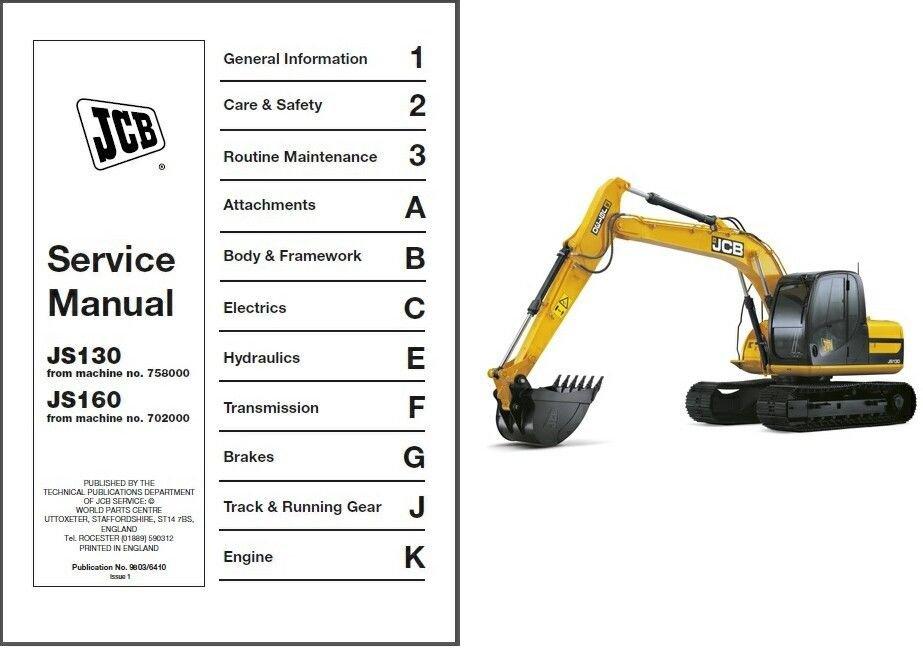 JCB JS130 JS160 Excavator Service Workshop Manual on a CD --- JS 130 160