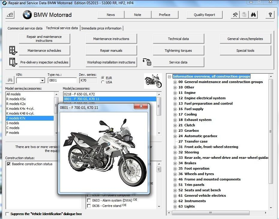 2013-2014-2015-2016 BMW F700GS ( F 700 GS ) RepROM Service Manual on a DVD