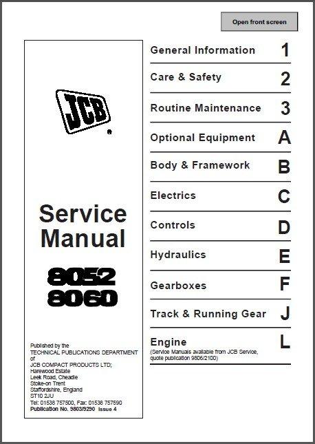JCB 8052 8060 Mini Excavator Service Repair Manual CD