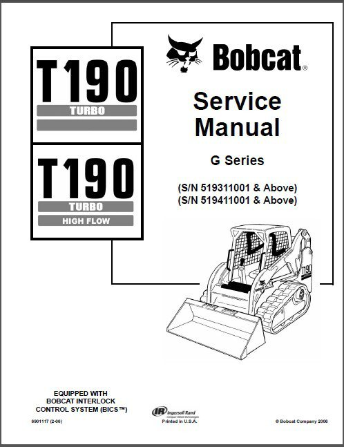 Bobcat T190 Turbo / High Flow Skid Steer Loader Service Repair Manual CD - T 190