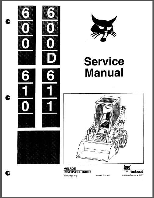 Bobcat 600 600D 610 611 Skid Steer Loader Service Repair Manual CD