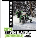 2014 Arctic Cat ZR XF M Series 2-Stroke Snowmobiles Service Repair Manual CD