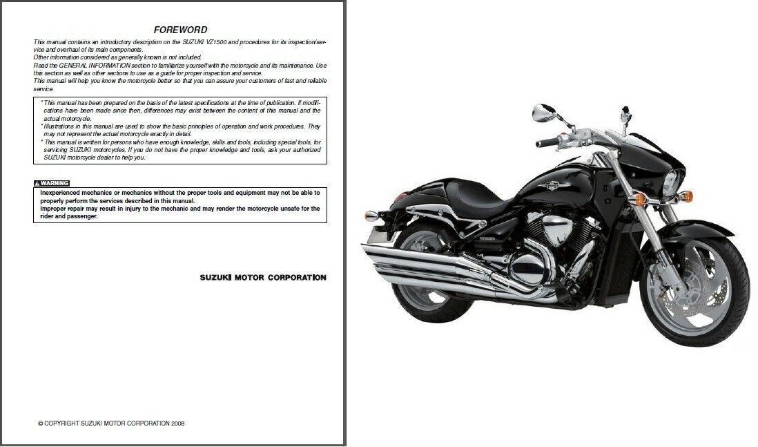 09-14 Suzuki VZ1500 Intruder M1500 / Boulevard M90 Service Repair Manual CD - VZ 1500