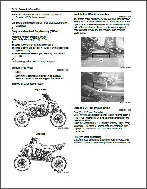 2009-2012 Suzuki LT-Z400 QuadSport Service Repair Manual on a CD