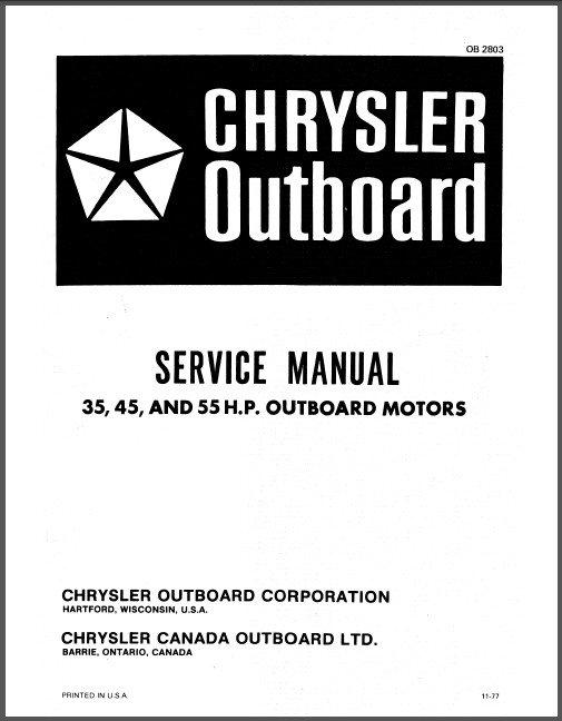 chrysler 35 45 55 hp outboard motor service repair manual