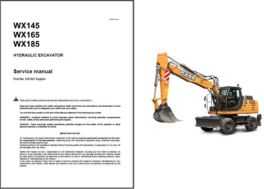 Case WX145 WX165 WX185 Hydraulic Excavator Service Manual on a CD