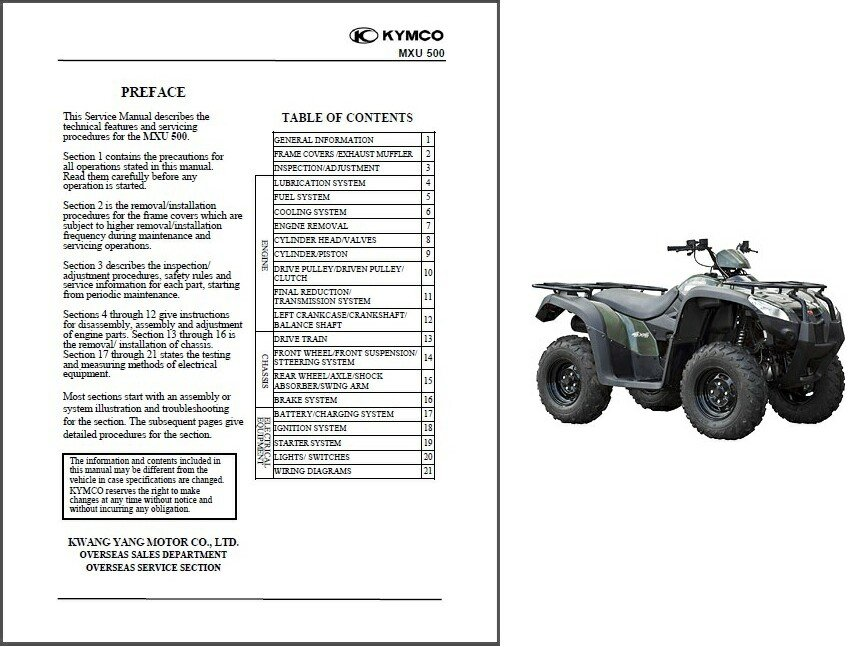 Kymco MXU 500 ATV Service Manual on a CD -- MXU500