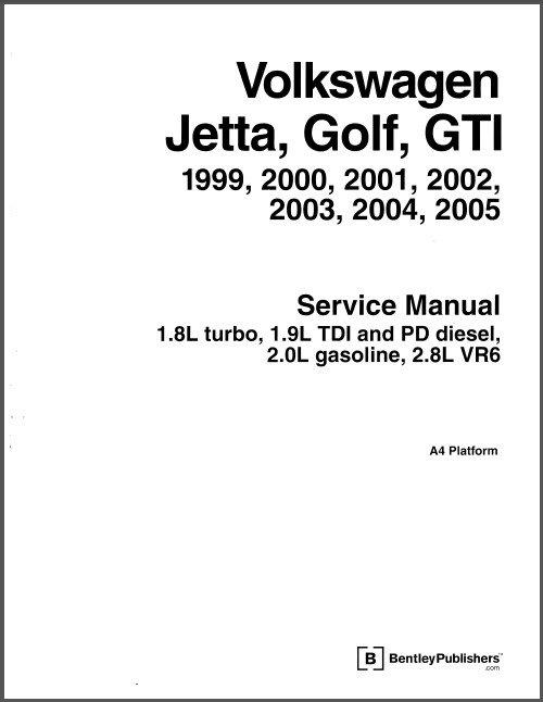 1999-2005 VW Volkswagen Jetta, Golf, GTI Service Manual on a CD