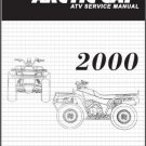 2000 Arctic Cat 250 300 400 500 ATV Service Manual on a CD