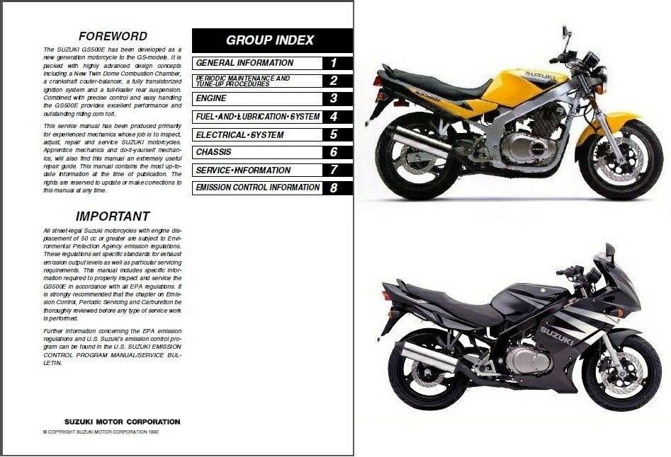 1989-2009 Suzuki GS500E / GS500F / GS500 Service Repair Manual CD -- GS 500 E F