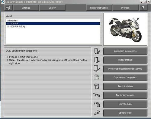 2009-2010-2011-2012 BMW S1000RR RepROM Service Manual CD - S 1000 RR