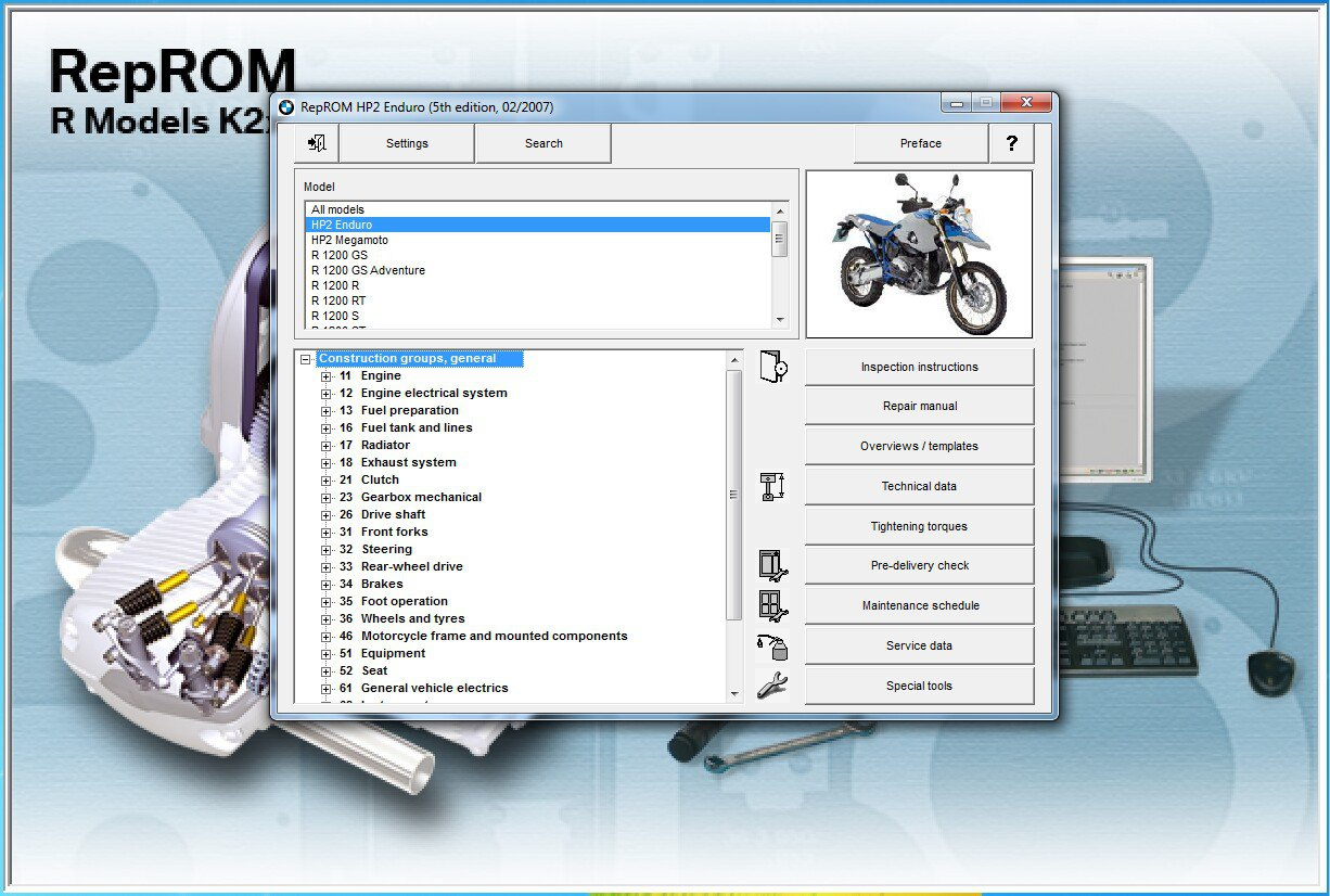 2005-2014 BMW HP2 Enduro / HP 2 Megamoto RepROM Multilingual Service Manual DVD