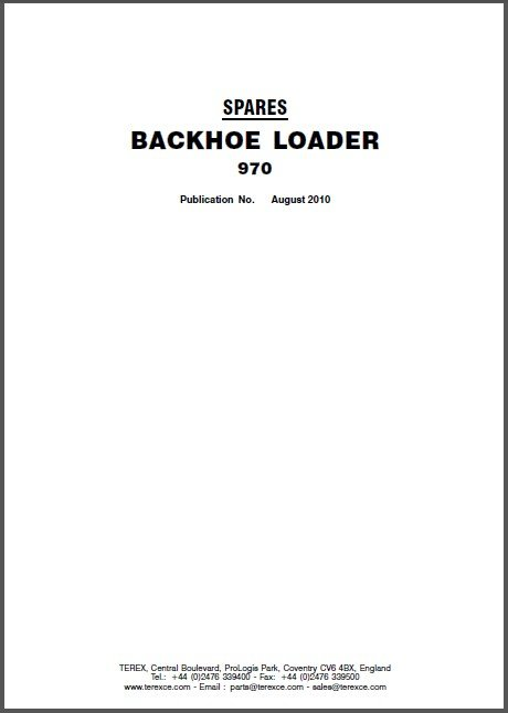 Terex Backhoe Loader 970 Parts Manual (Spare Parts Catalog) on a CD