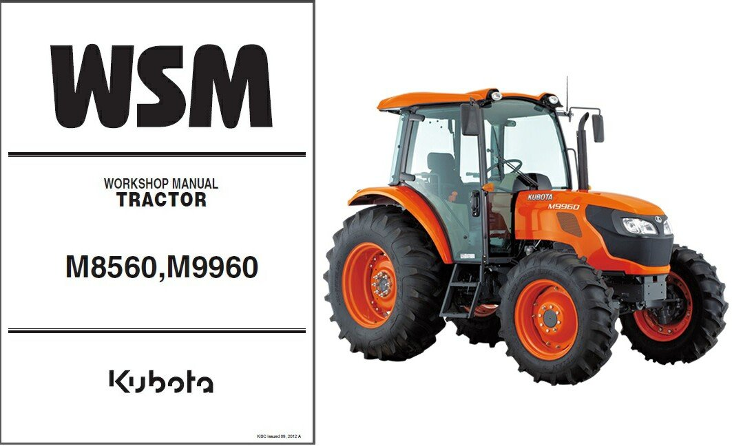 Kubota M8560 M9960 Tractor WSM Service Workshop Manual CD