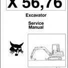 Bobcat X 56 / X 76 Excavator Service Repair Manual on a CD - X56 X76