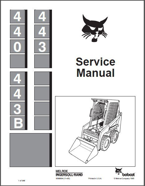 Bobcat 440 443 443B Skid Steer Loader Service Repair Manual CD