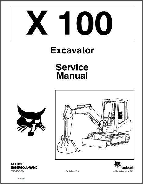 Bobcat X 100 Excavator Service Repair Manual on a CD - X100