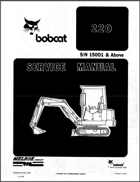 Bobcat 220 Hydraulic Excavator Service Repair Manual on a CD