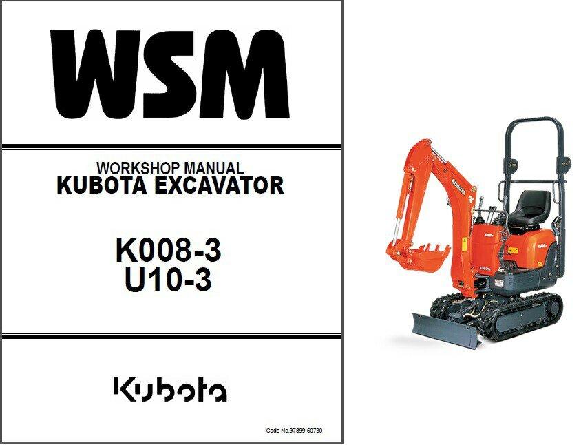 Kubota K008-3 / U10-3 Mini Excavator WSM Service Manual on a CD