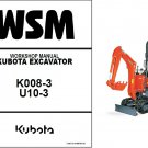 Kubota K008-3 / U10-3 Mini Excavator WSM Service Manual on a CD