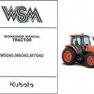 Kubota M5040 M6040 M7040 Tractor WSM Service Workshop Manual CD
