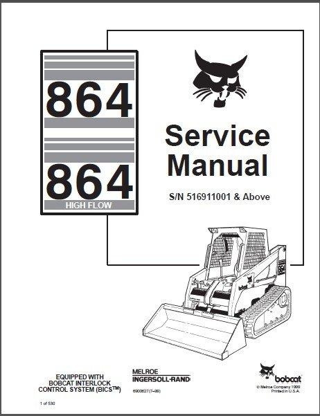 Bobcat 864 864H ( High Flow ) Skid Steer Loader Service Manual on a CD