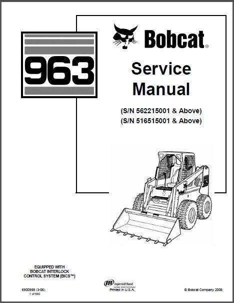 Bobcat 963 Skid Steer Loader Service Manual on a CD