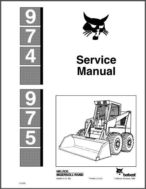 Bobcat 974 975 Skid Steer Loader Service Manual on a CD