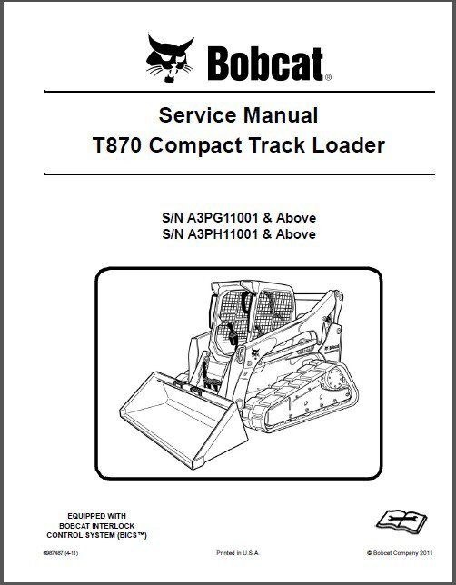 Bobcat T870 Compact Track Loader Service Manual on a CD
