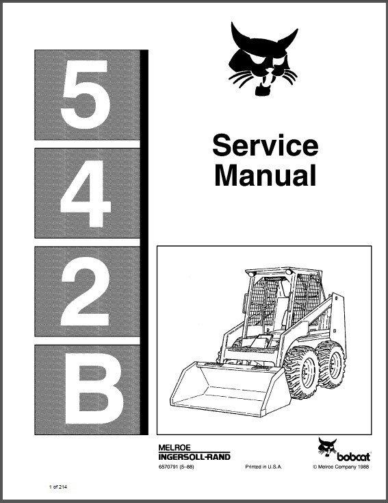 Bobcat 542B Skid Steer Loader Service Manual CD