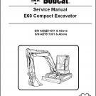 Bobcat E60 Compact Excavator Service Repair Manual on a CD