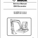 Bobcat E80 Compact Excavator Service Repair Manual on a CD --- E 80