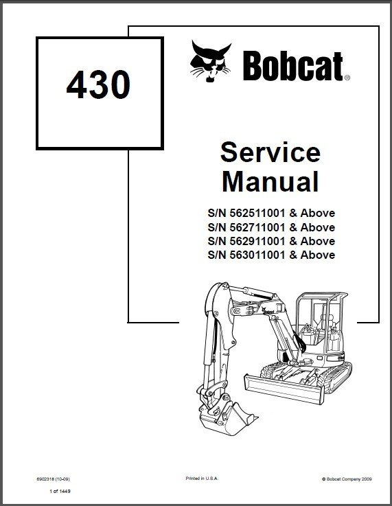 Bobcat 430 Compact Excavator Service Repair Manual on a CD