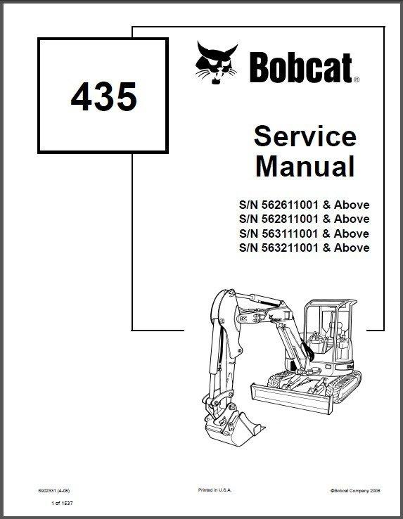 Bobcat 435 Compact Excavator Service Repair Manual on a CD