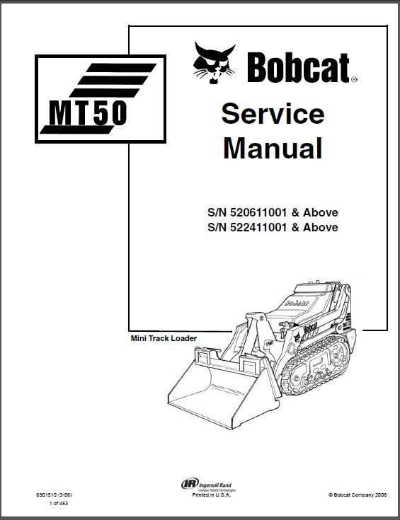 Bobcat MT50 Mini Track Loader Service Repair Manual on a CD -- MT 50