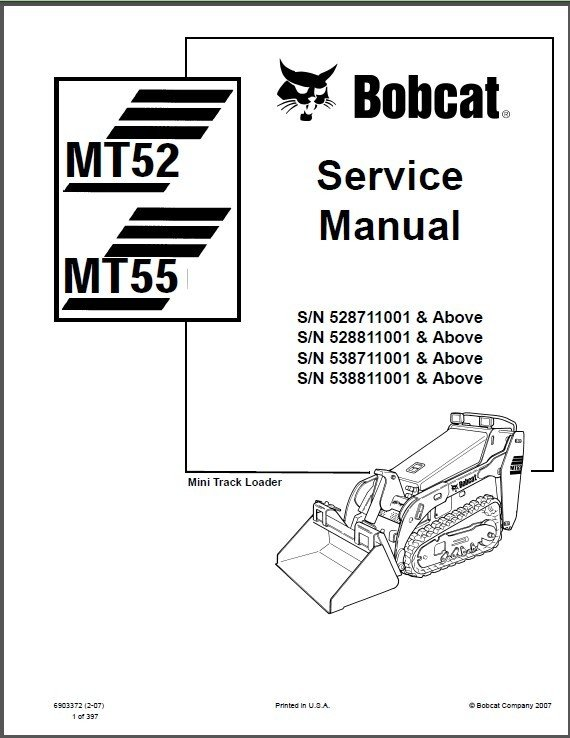 Bobcat MT52 MT55 Mini Track Loader Service Repair Manual on a CD -- MT 52 55
