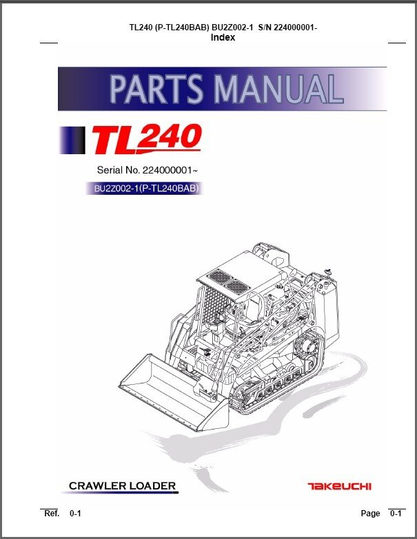 Takeuchi Tl240 Crawler Loader Parts Manual On A Cd