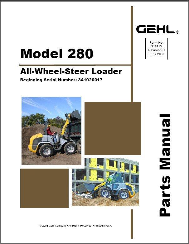 Gehl 280 All Wheel Steer Loader Parts Manual on a CD