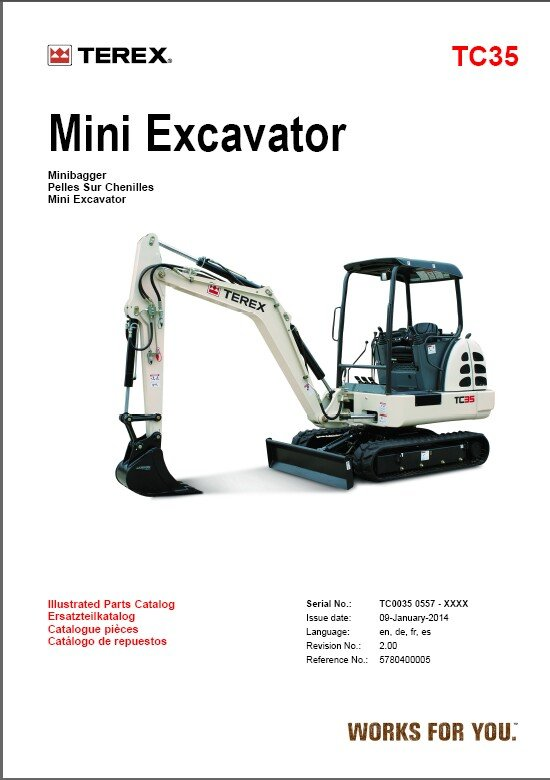 Terex TC35 Excavator Parts Manual CD - in English Deutsch Français Español