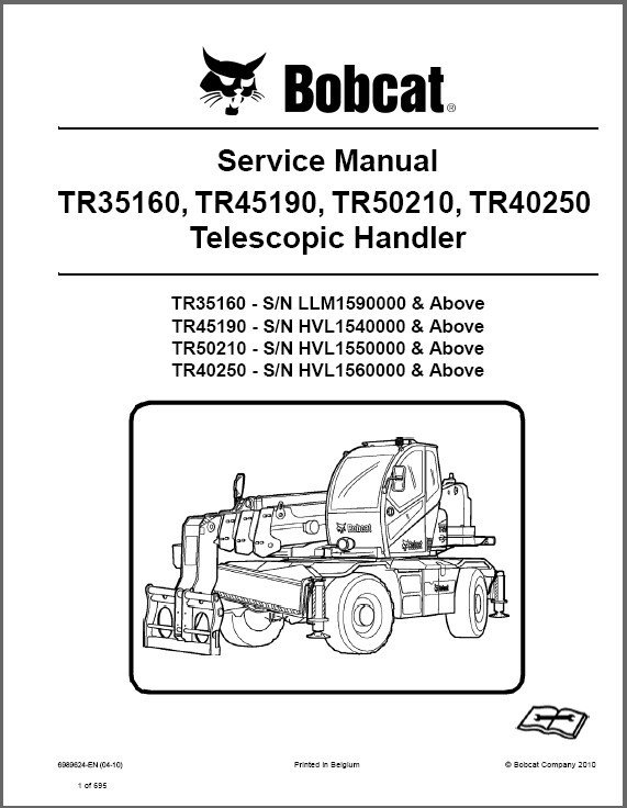Bobcat TR35160 TR45190 TR50210 TR40250 Telescopic Handler Service Manual on a CD